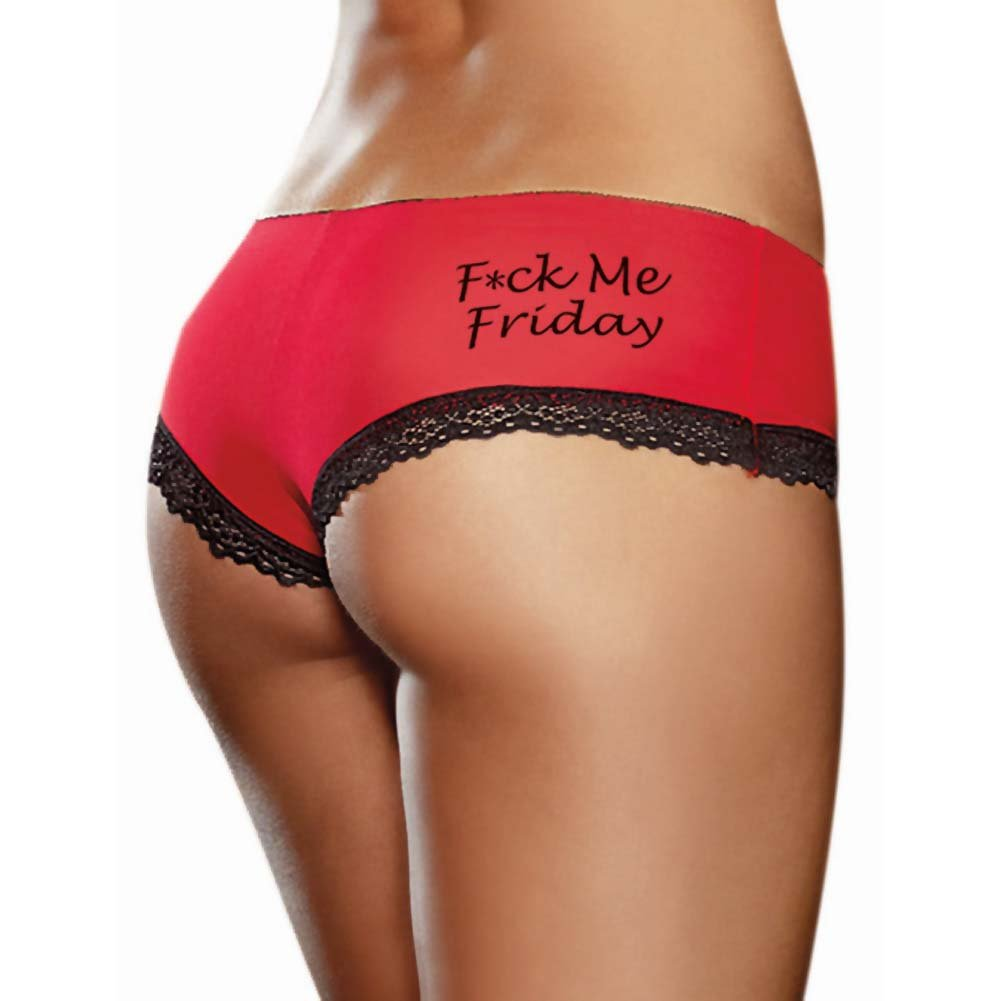 Fck Me Friday Spank Me Saturday Seduce Me Sunday Panties 3 Pack Small Red/Black/Pink - View #1