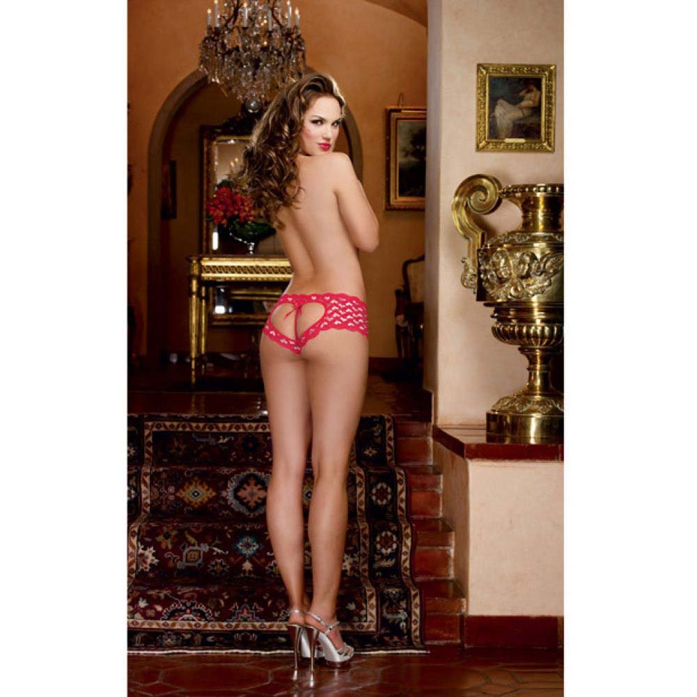 Dreamgirl Stretch Lace Open Heart Back and Crotch Boyshort with Metallic Hearts Small Red/Silver - View #4