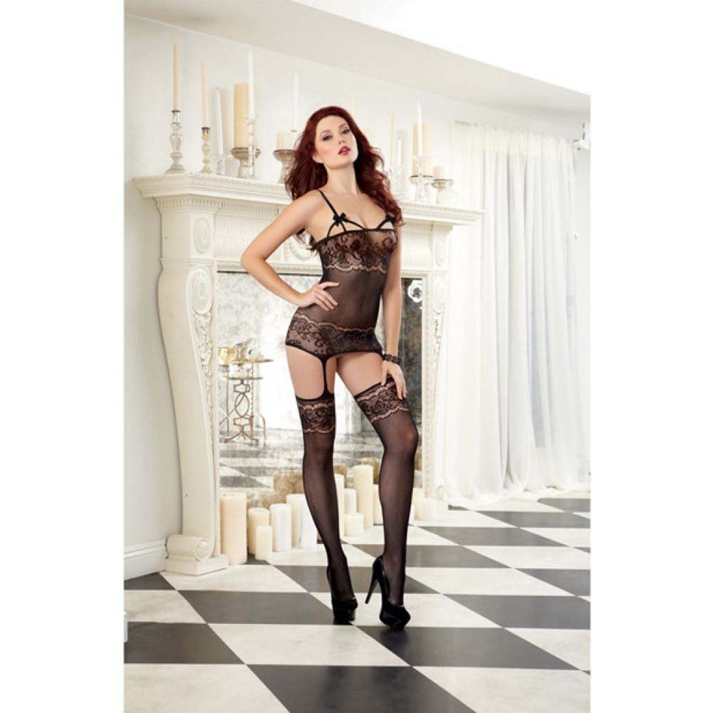Dreamgirl Delicate Lace Sheer Garter Dress with Attached Garters and Thigh Highs One Size Black - View #3