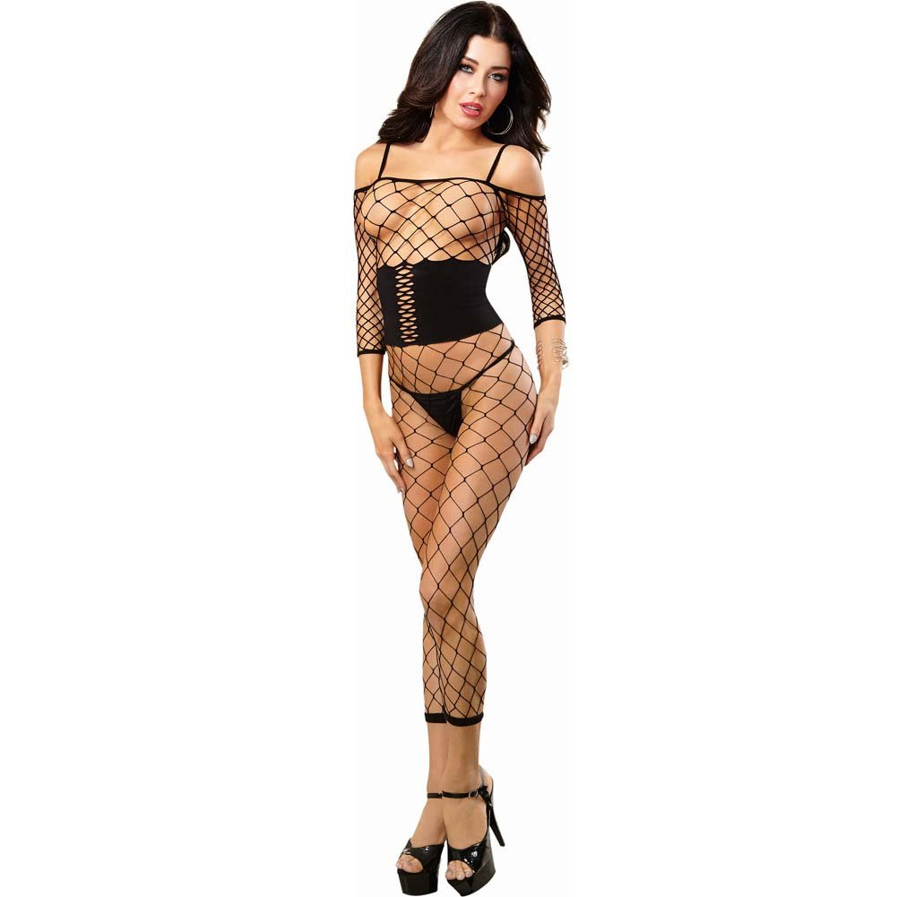 Dreamgirl Fence Net Bodystocking with Built in Opaque Waist Corset One Size Black - View #1