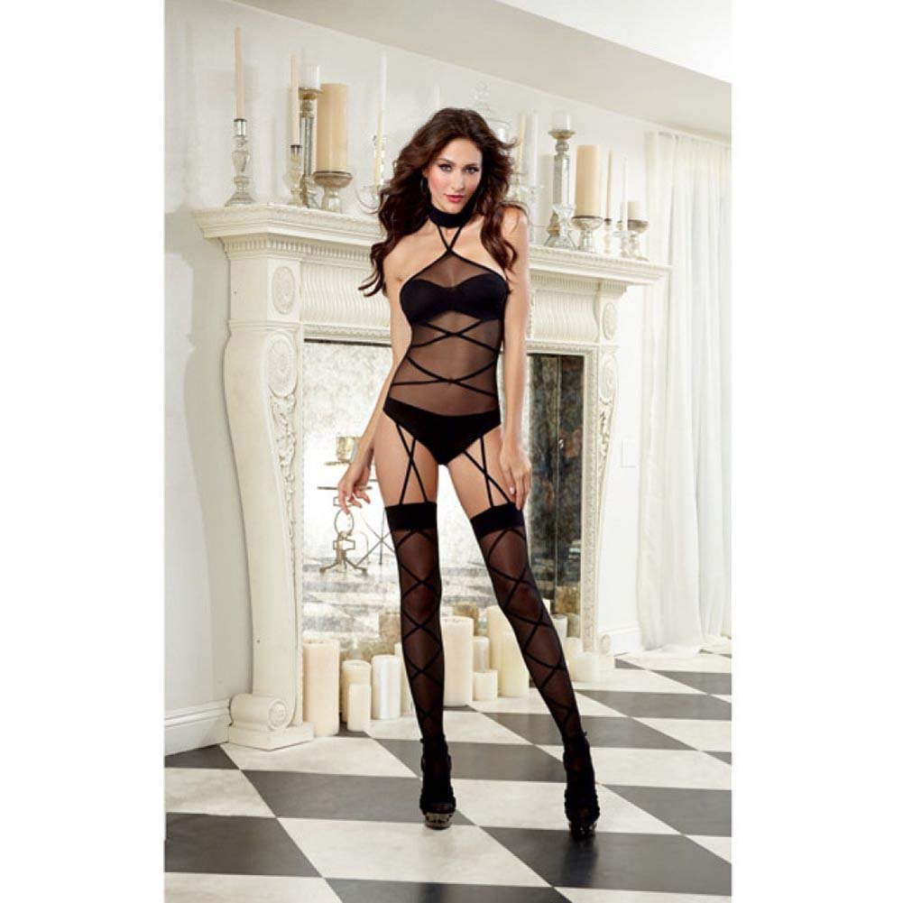 Dreamgirl Sheer Halter Teddy Bodystocking Opaque Bra and Panty Attached Garters One Size Black - View #3