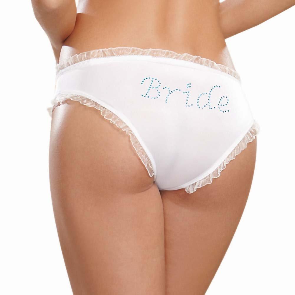Dreamgirl Microfiber Cheeky Panty with Rhinestone Bride On Back Medium White - View #1