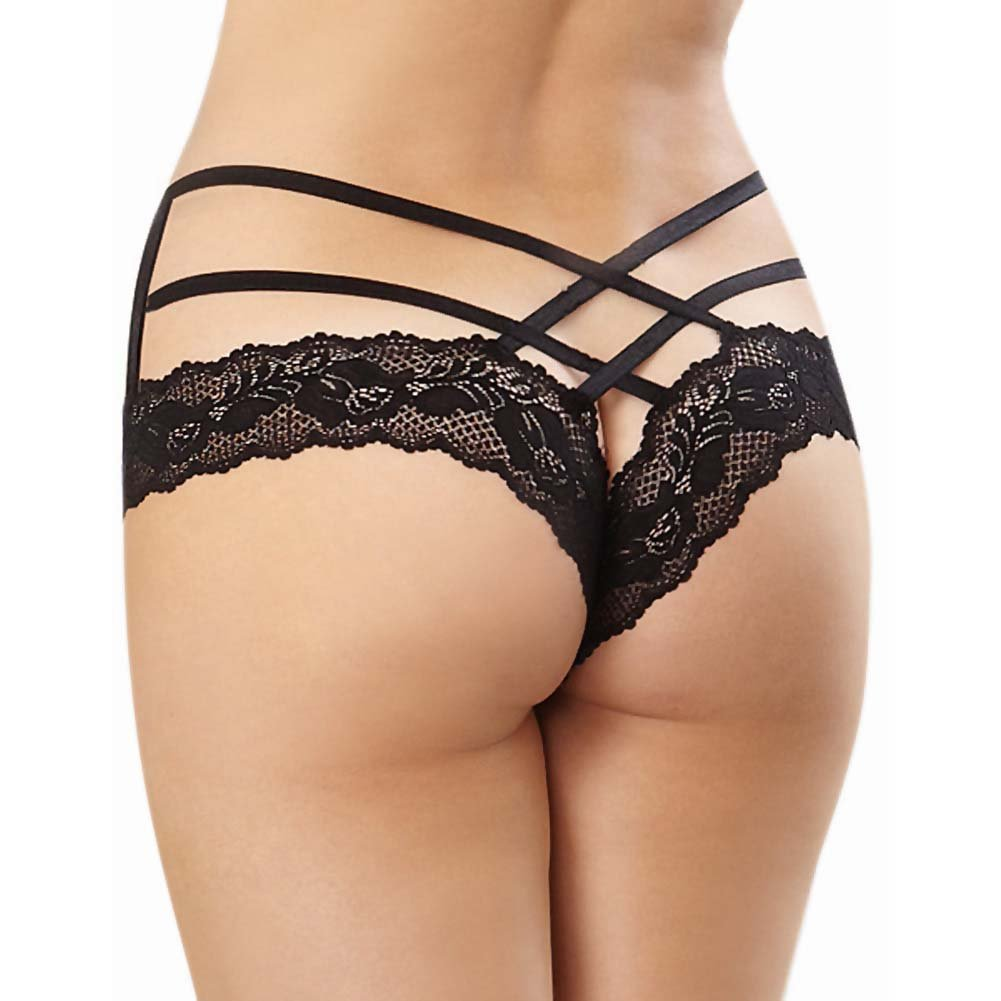 Dreamgirl Stretch Lace Band Tanga Panty with Criss Cross Strappy Waistband Medium/Large Black - View #2