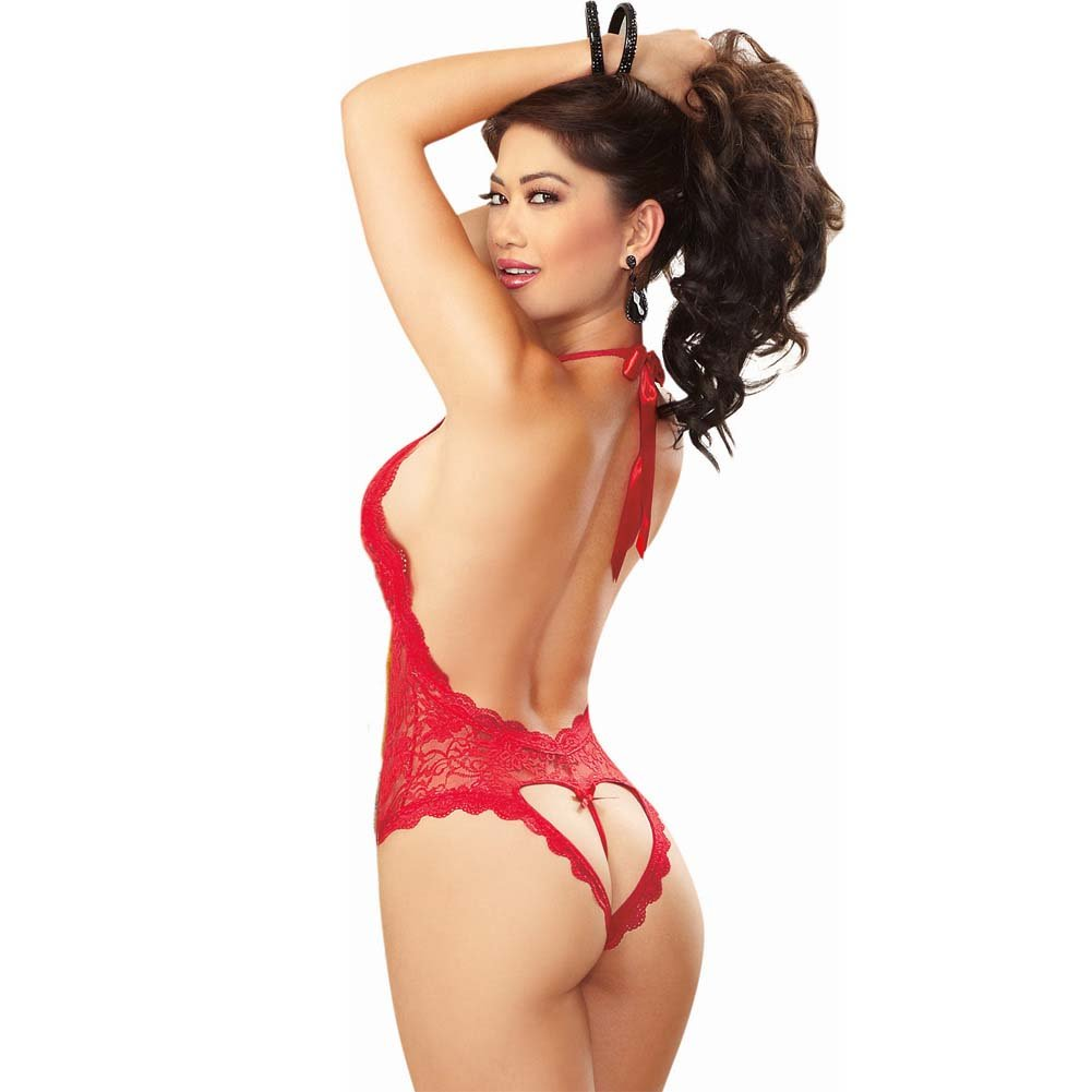Dreamgirl Sexy Halter Tie Stretch Lace Teddy Plunging Neckline Heart Cut Out One Size Red - View #2