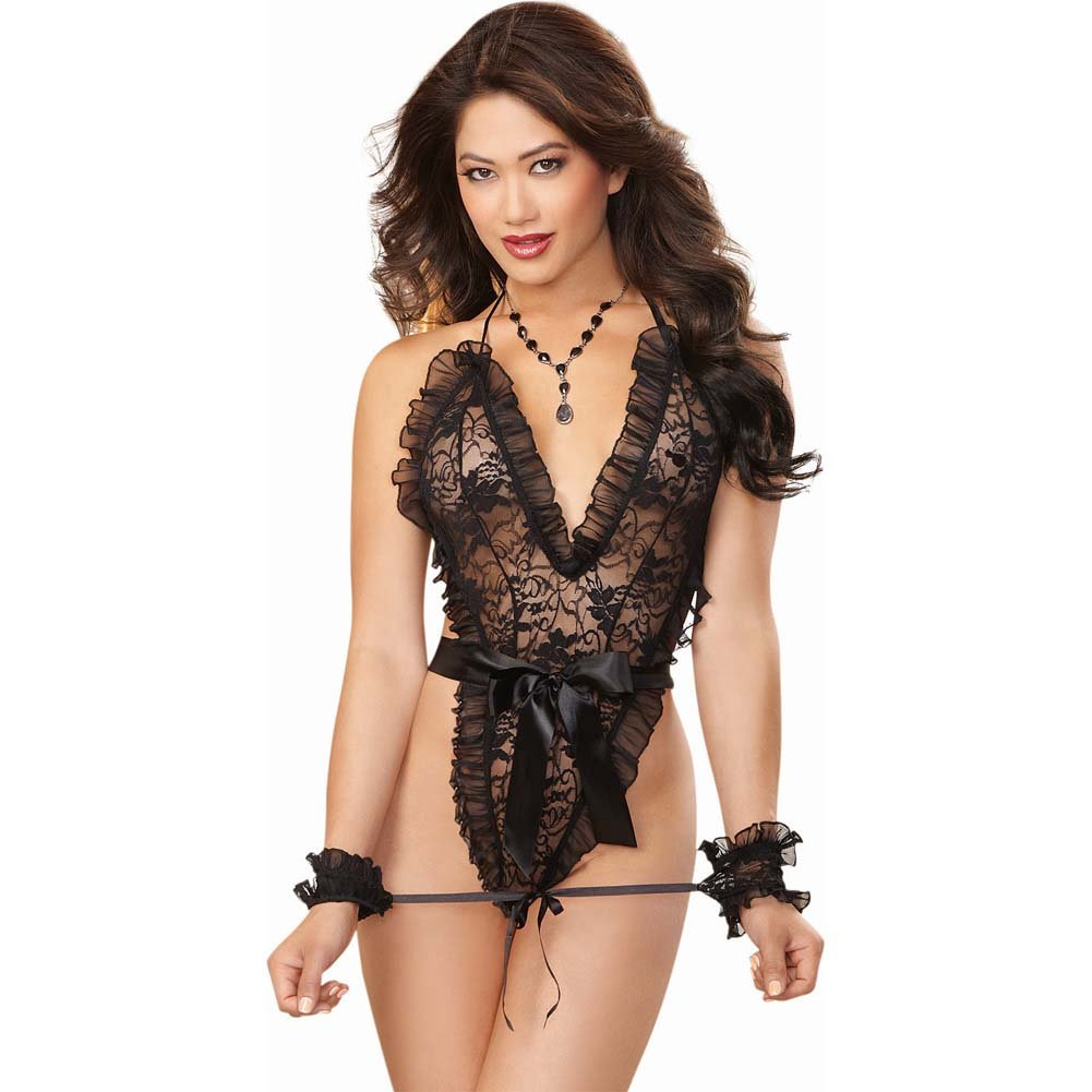 Dreamgirl Naughty Stretch Lace Wrap Around Teddy with Thong Back Wrist Restraints One Size Black - View #1