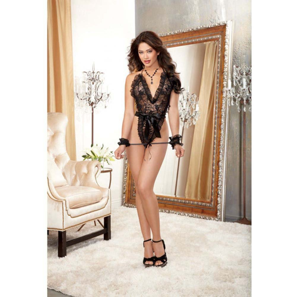 Dreamgirl Naughty Stretch Lace Wrap Around Teddy with Thong Back Wrist Restraints One Size Black - View #3