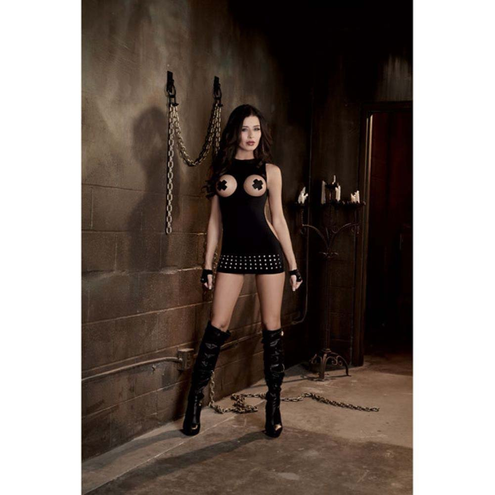Dreamgirl Sexy Fetish Seamless Studded Open Cup Mini Dress and Fingerless Gloves One Size Black - View #3