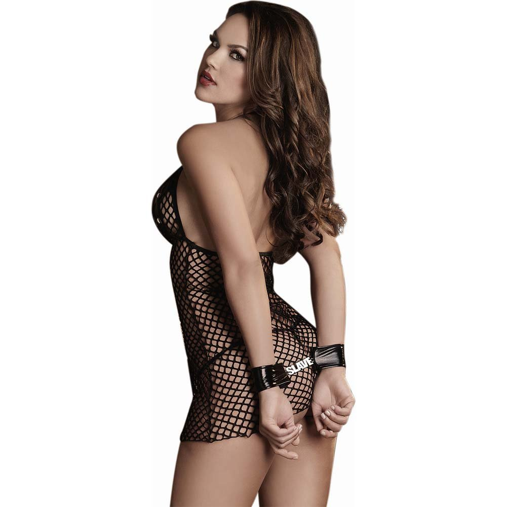 Dreamgirl Stretch Fishnet Fetish Halter Chemise Crotchless G-String Restraints One Size Black - View #2