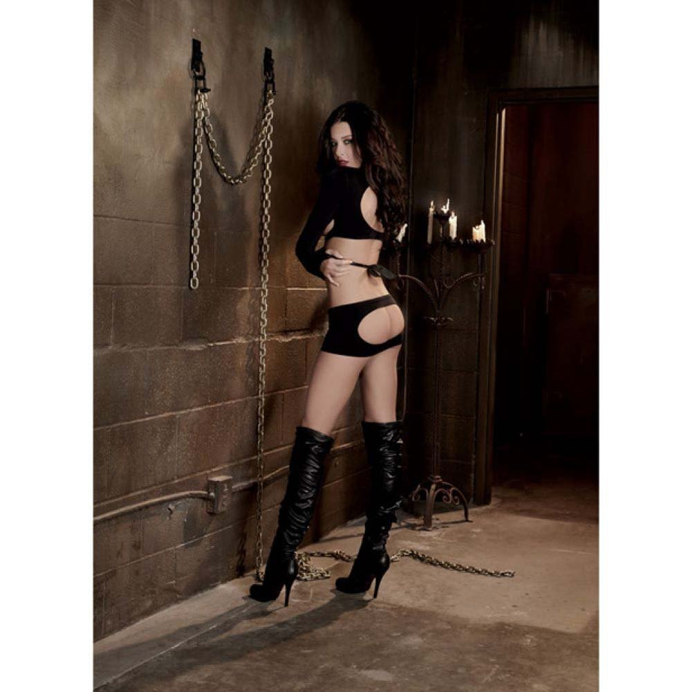 Dreamgirl Fetish Seamless Open Cup Straight Jacket Crop Top Restraints One Size Black - View #4