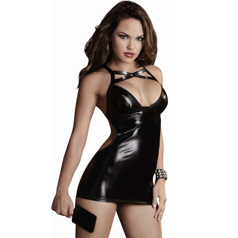 Dreamgirl Fetish Stretch Faux Vinyl Chemise Spanking Back G-String Paddle One Size Black - View #1