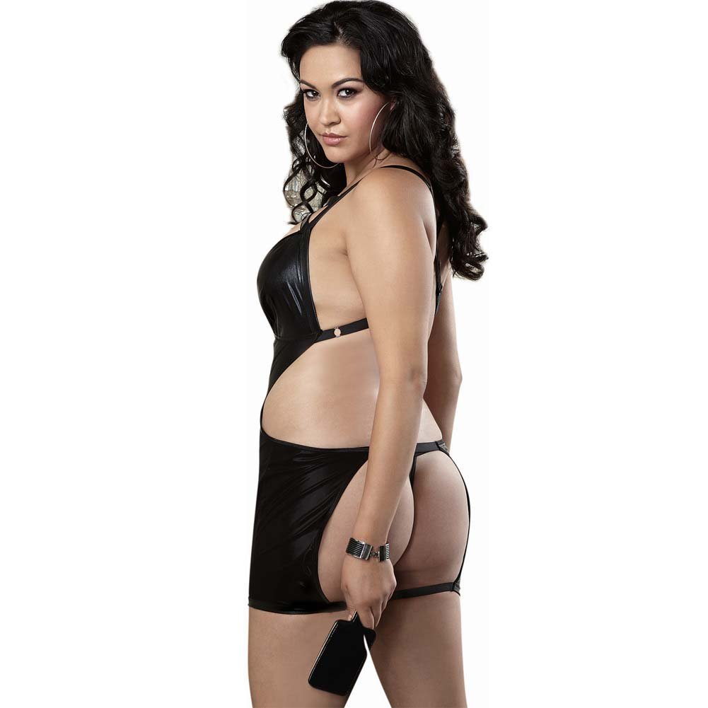 Fetish Stretch Vinyl Chemise Spanking Back G-String Paddle Queen Size Black - View #2