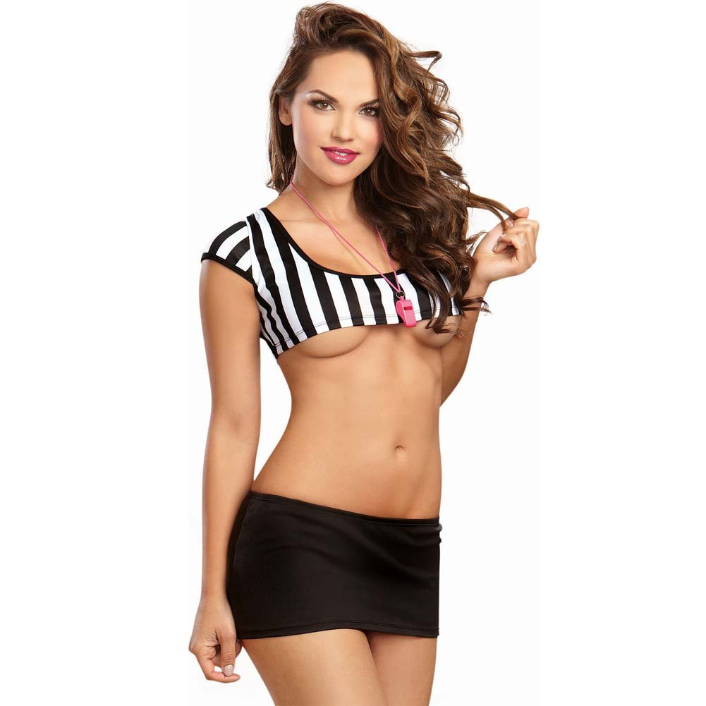 Dreamgirl Referee Stripe Knit Crop Top Foul Play Mini Skirt Whistle Necklace One Size Black - View #1