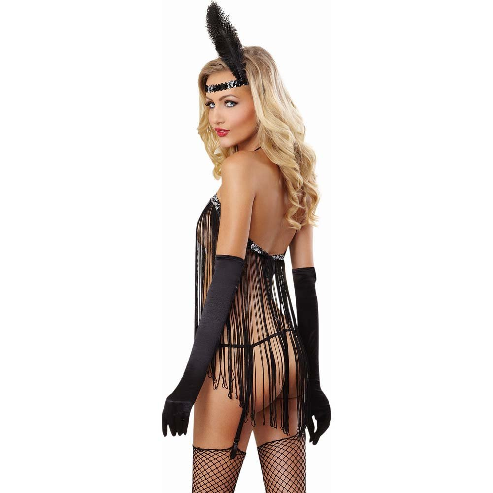 Dreamgirl Sexy Flirty Flapper Lingerie Costume Set with Garter G-String One Size Black - View #2