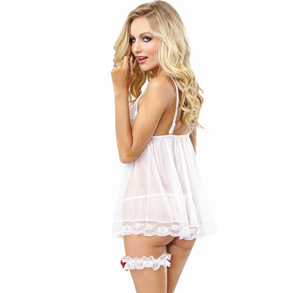 Dreamgirl Sexy Stretch Mesh Bridal Babydoll Lingerie Costume Set with Thong Garter One Size White - View #2