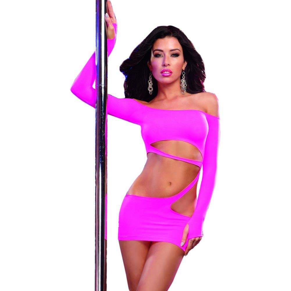 Dreamgirl Seamless Dress Asymmetrical Slashing Sleeves with Thumb Hole One Size Neon Pink - View #1