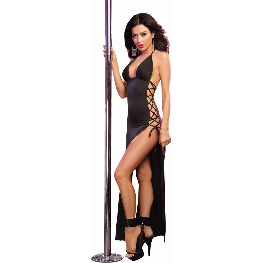 Dreamgirl Stretch Jersey Full Length Halter Dress and Open Lace Up Ties One Size Black - View #1