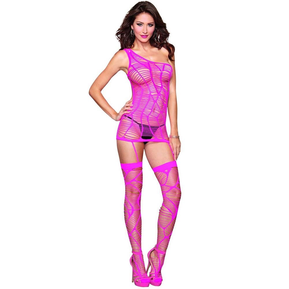 Dreamgirl Strappy Seamless One Shoulder Garter Dress Garters and Thigh Highs One Size Hot Pink - View #1