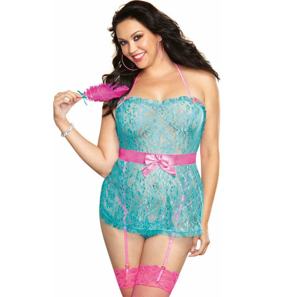 Floral Lace Halter Apron Babydoll with Attached Garters and Panty Set Queen Size Turquoise/Pink - View #1