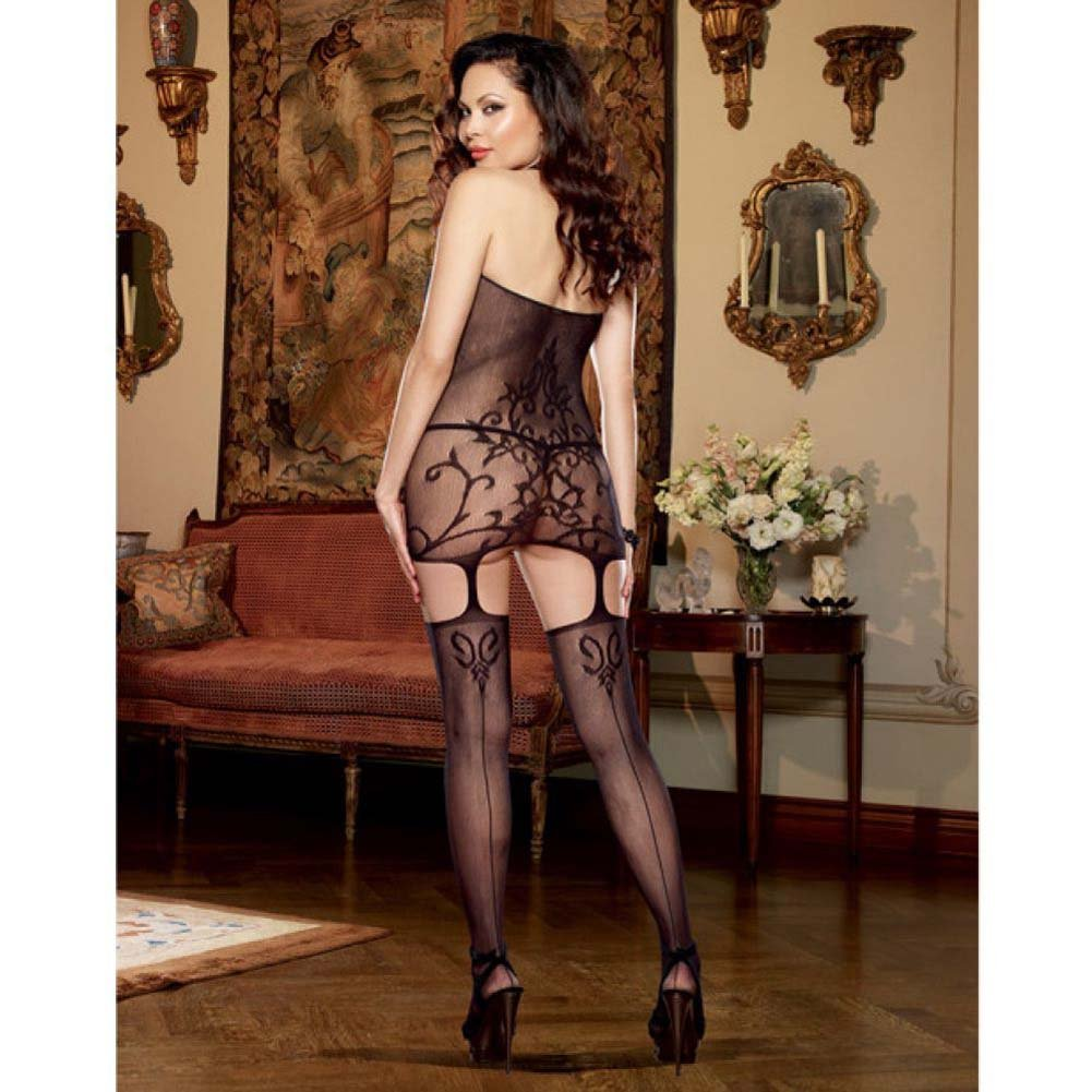 Dreamgirl Halter Garter Dress with Baroque Design and Stockings Queen Size Black - View #4