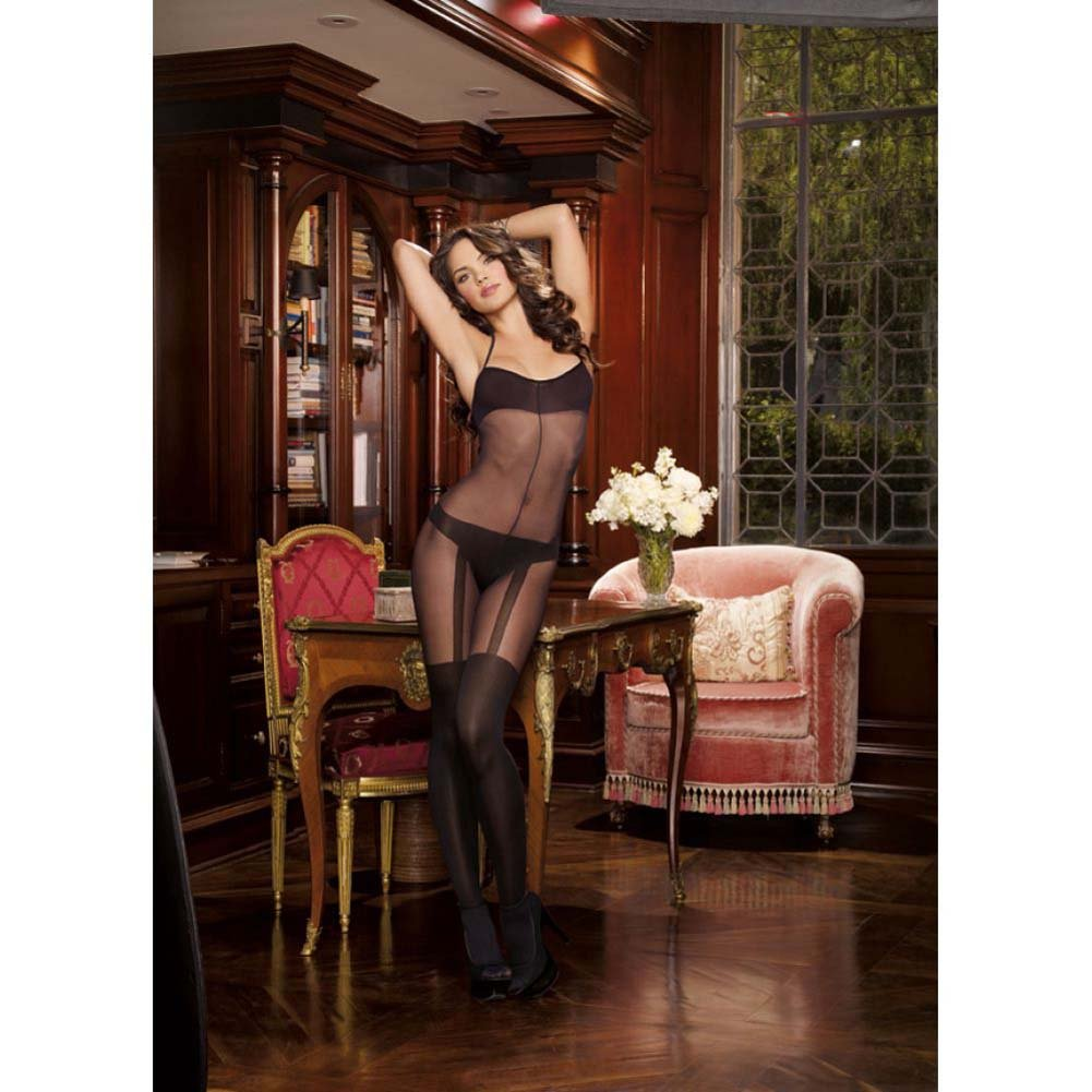 Dreamgirl Sheer Halter Bodystocking Knitted Bra Thong Garters Thigh Highs One Size Black - View #3