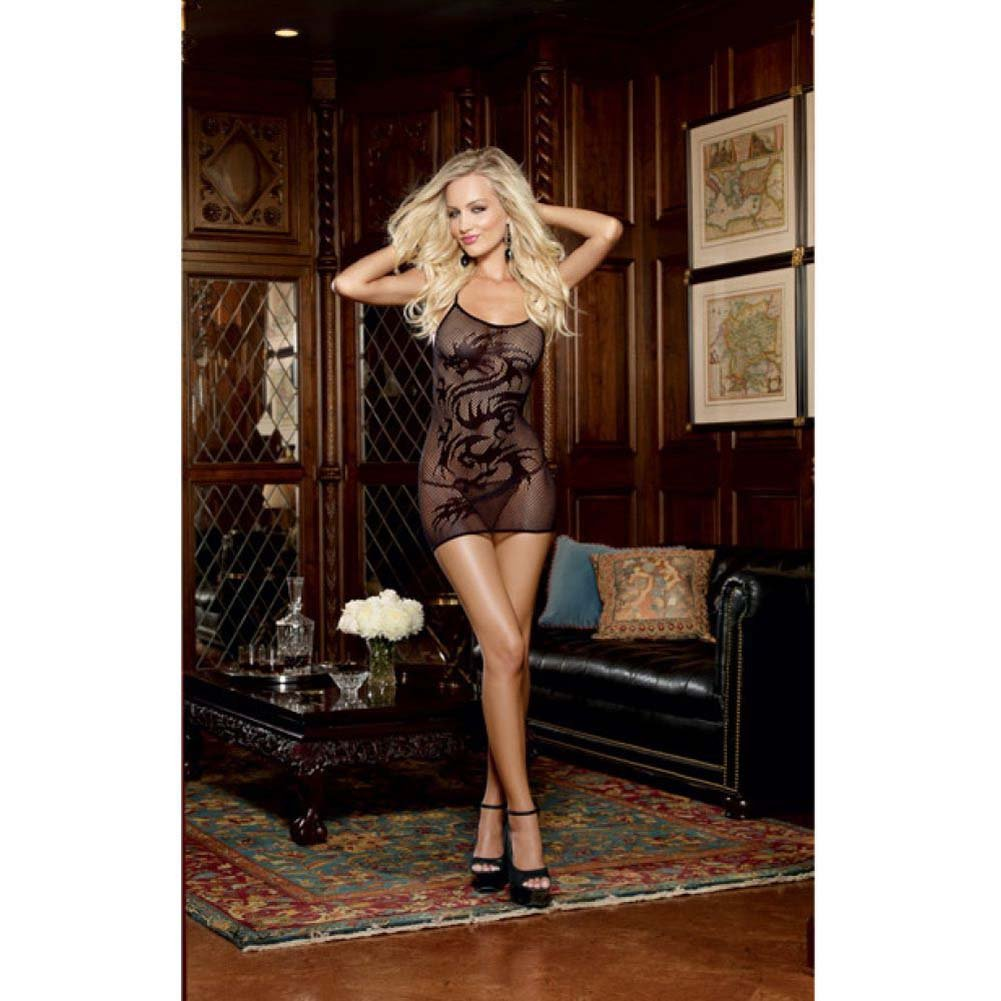 Dreamgirls Stretch Fishnet Chemise with Dragon Tattoo Design G-String One Size Black - View #3