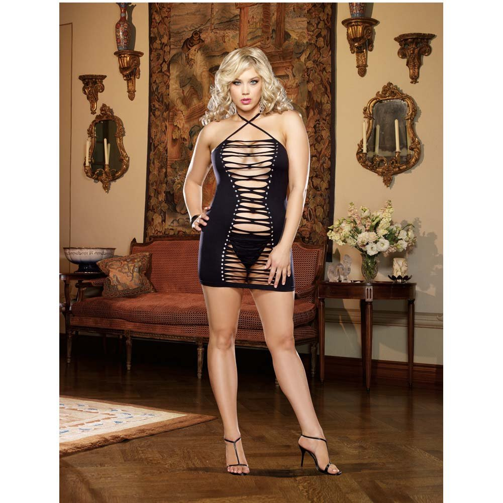 Dreamgirl Seamless Halter Dress with Adjustable Neck Ties and G-String Queen Size Black - View #3