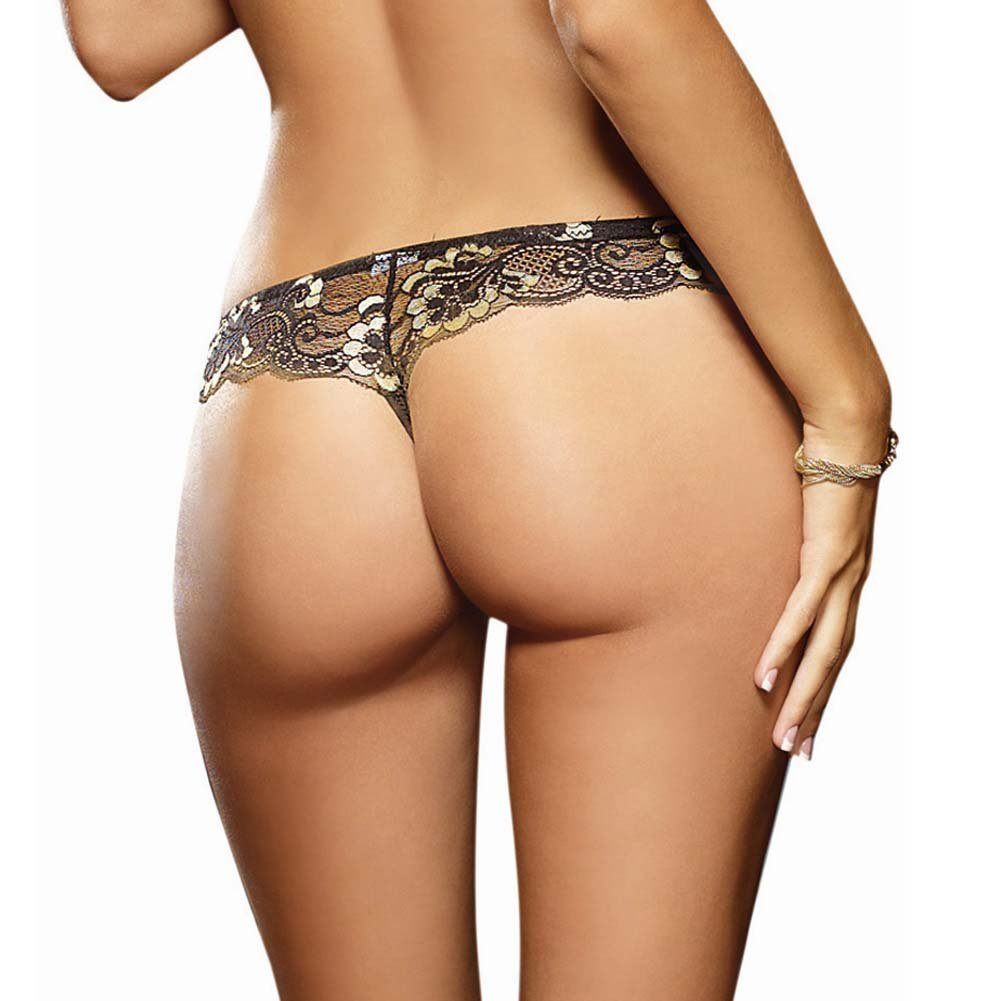 Dreamgirl Cross Dye Lace and Microfiber Thong Small Black/Gold - View #2