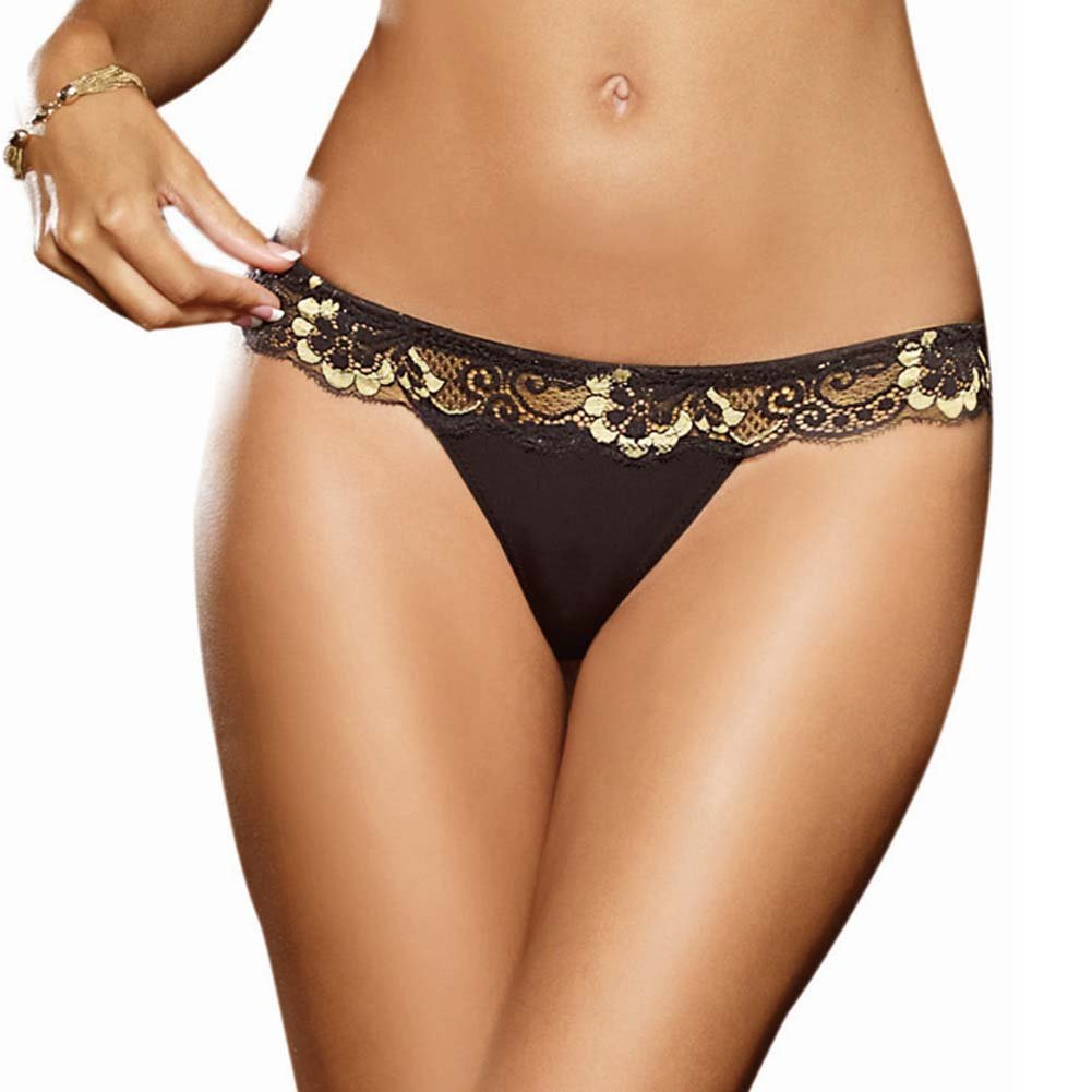 Dreamgirl Cross Dye Lace and Microfiber Thong Medium Black/Gold - View #1