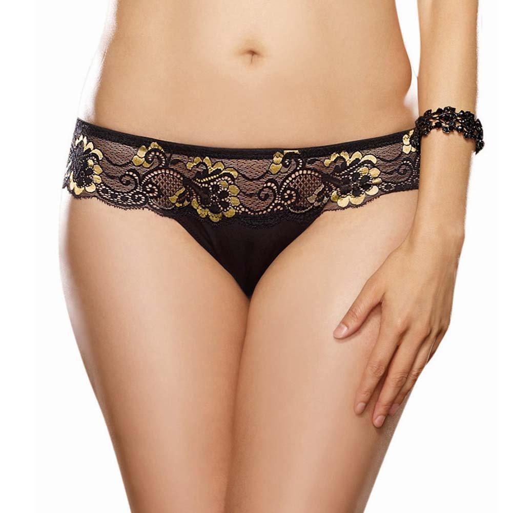 Dreamgirl Cross Dye Lace and Microfiber Thong Plus Size 1X/2X Black/Gold - View #1