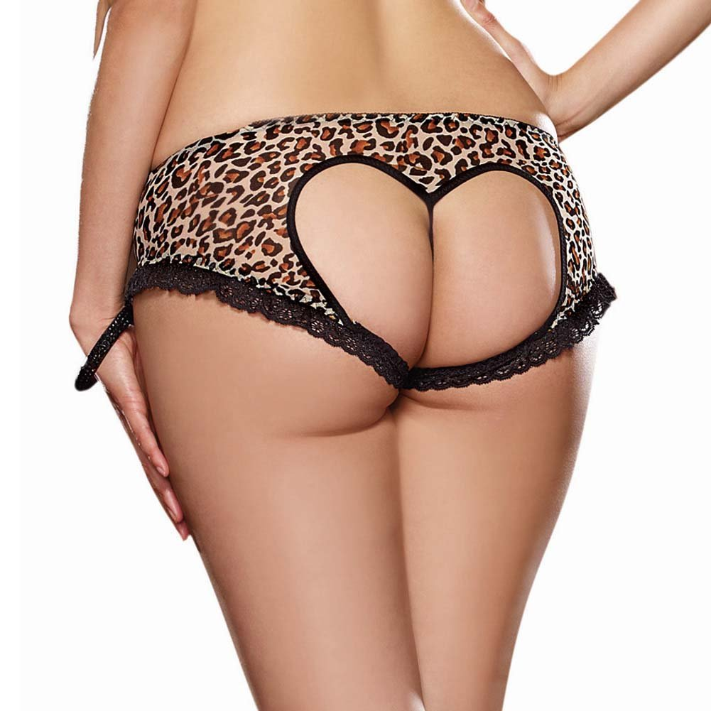 Dreamgirl Leopard Print Stretch Mesh with Spandex Open Heart Back Cheeky Panty 1X/2X Leopard - View #1