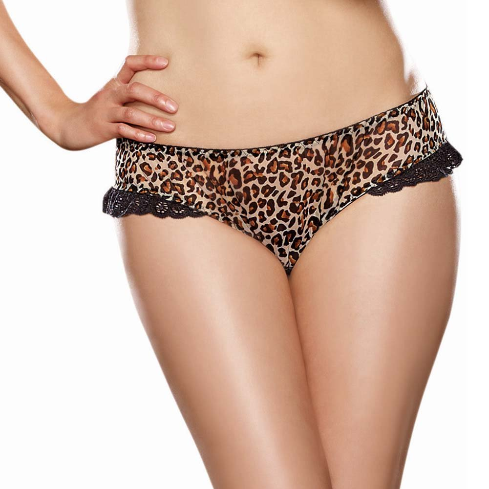 Dreamgirl Leopard Print Stretch Mesh with Spandex Open Heart Back Cheeky Panty 3X/4X Leopard - View #2
