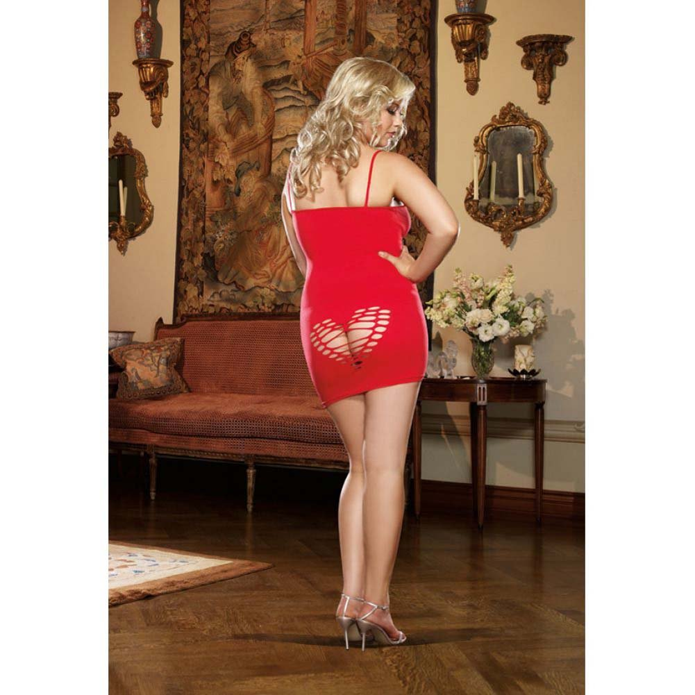 Dreamgirl Seamless Plunging Slash Chemise and Thong Queen Size Red - View #4