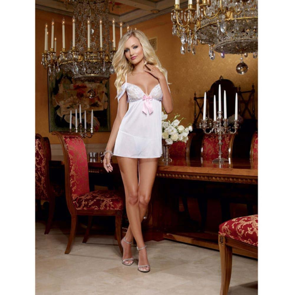 Dreamgirl Stretch Mesh Lace Babydoll Adjustable Straps Heart Cut Out Panty One Size White - View #3