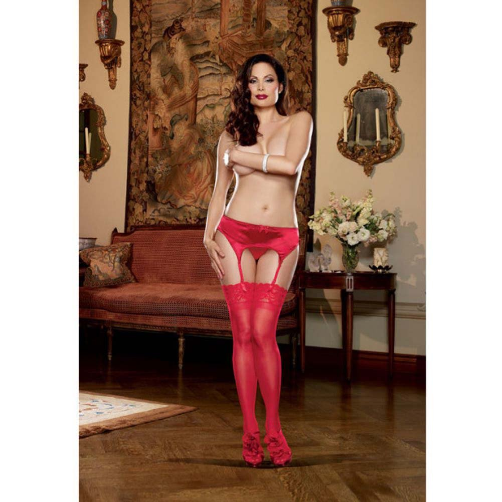 Dreamgirl Satin Front Garter Belt with Mesh Back Adjustable Garter Straps Size Queen Red - View #3