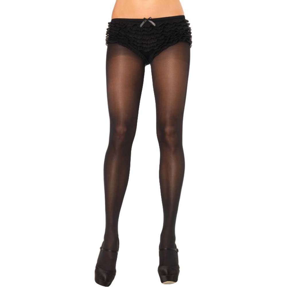 Leg Avenue Opaque Sheer to Waist Tights One Size Black - View #1