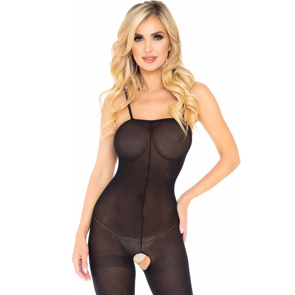 Leg Avenue Opaque Bodystocking with Spaghetti Straps One Size Black - View #3