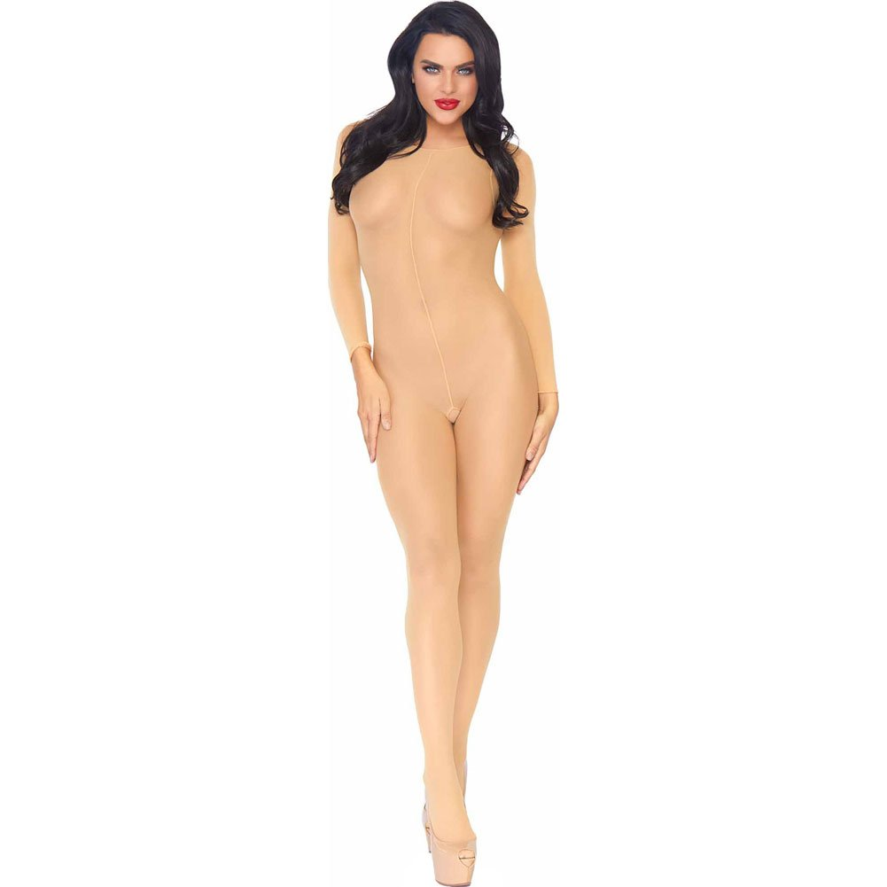 Leg Avenue Sheer Long Sleeved Bodystocking One Size Nude - View #1