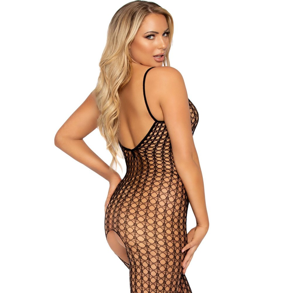 Leg Avenue Crochet Net Bodystocking One Size Black - View #4