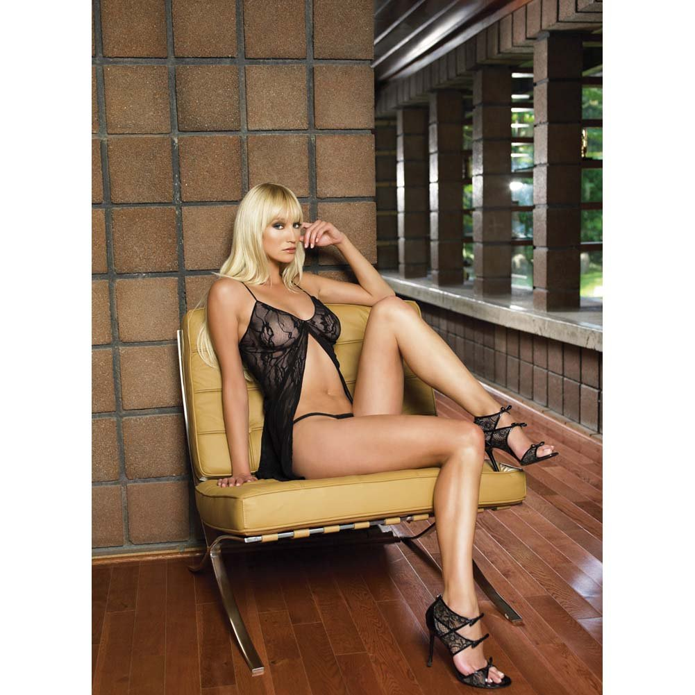 Leg Avenue Romantic Lace Babydoll and G-String Queen Size Black - View #2