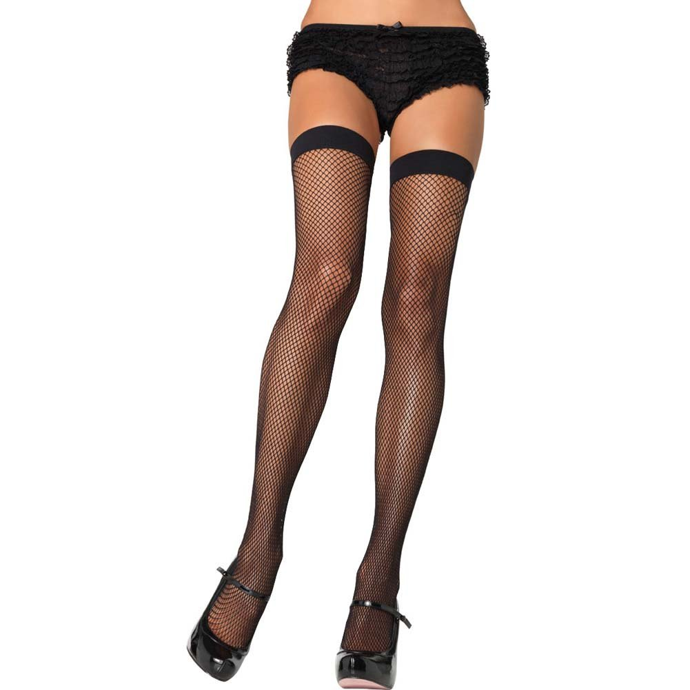 Dreamgirl Fishnet Thigh High One Size Black - View #1