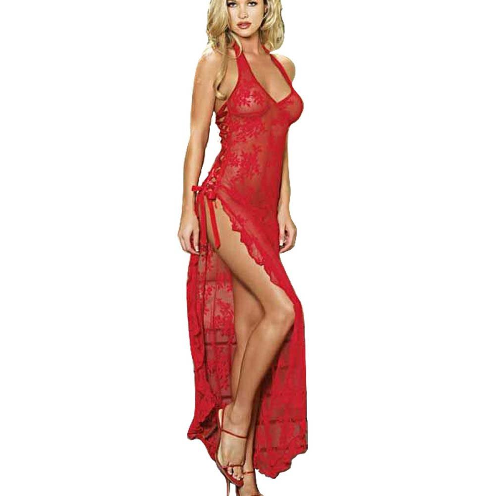 Leg Avenue Rose Lace High Slit Gown and G-String One Size Red - View #1