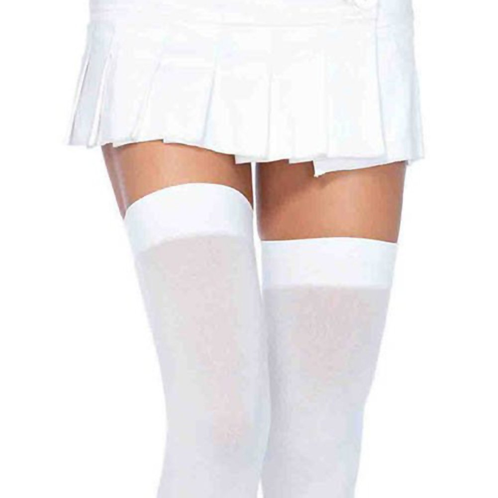 Leg Avenue Opaque Thigh High Stockings Queen Size White - View #2