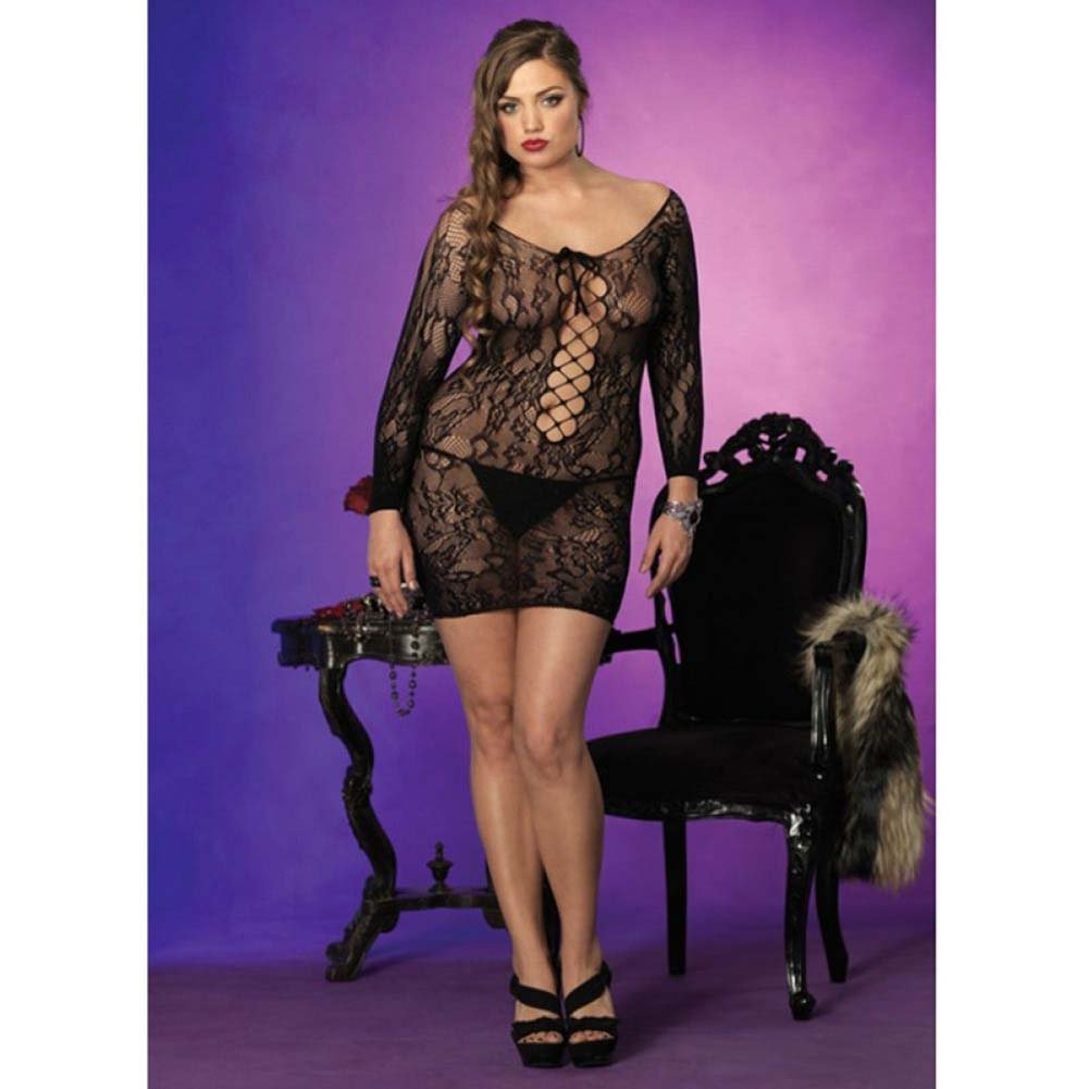 Leg Avenue Floral Lace Mini Dress Queen Size Black - View #2