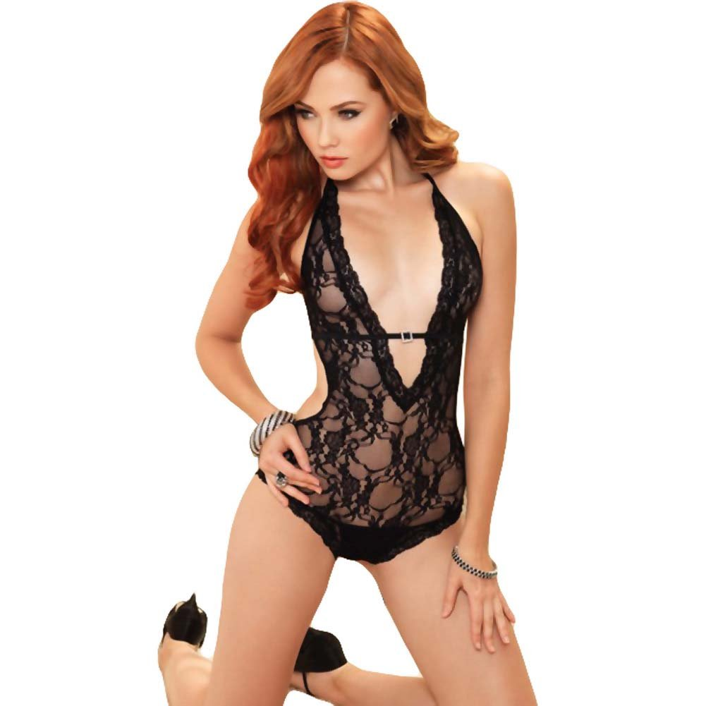 Leg Avenue Lace Deep-V Halter Teddy One Size Black - View #1