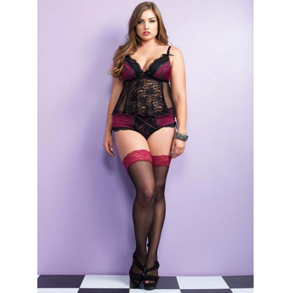 Leg Avenue 2 Piece Adore Set Spandex Cami and Panty Plus Size 1X/2X Black/Burgundy - View #2