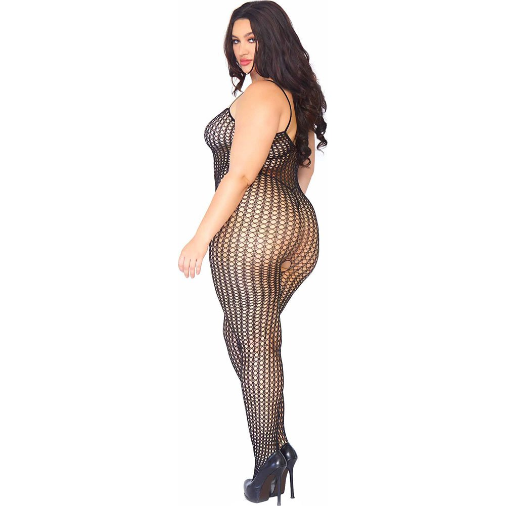 Leg Avenue Crochet Net Bodystocking Queen Size Black - View #2