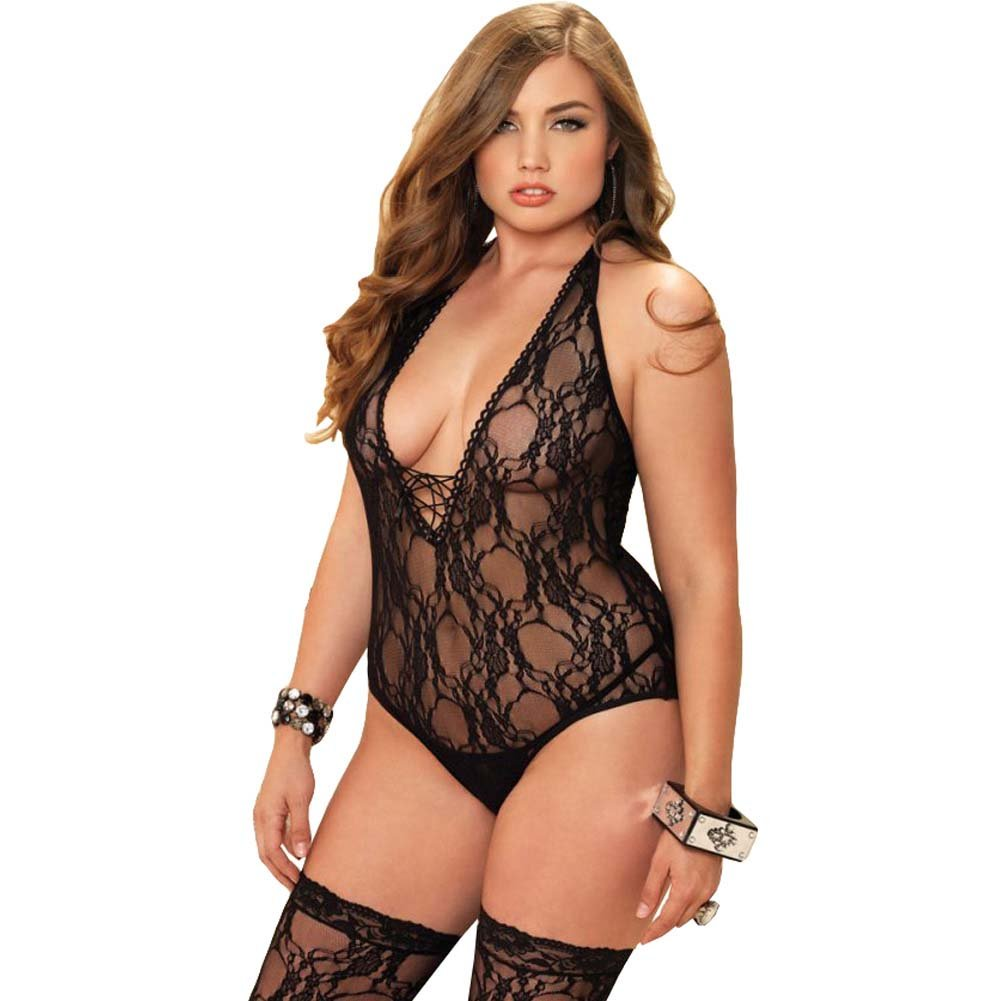 Leg Avenue Floral Lace Deep-V Teddy with Stockings Queen Size Black - View #1