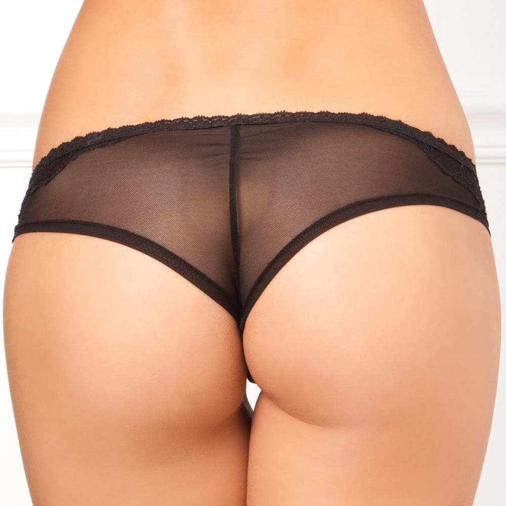 Rene Rofe Crotchless Diamond Lace Panty Medium/Large Black - View #2