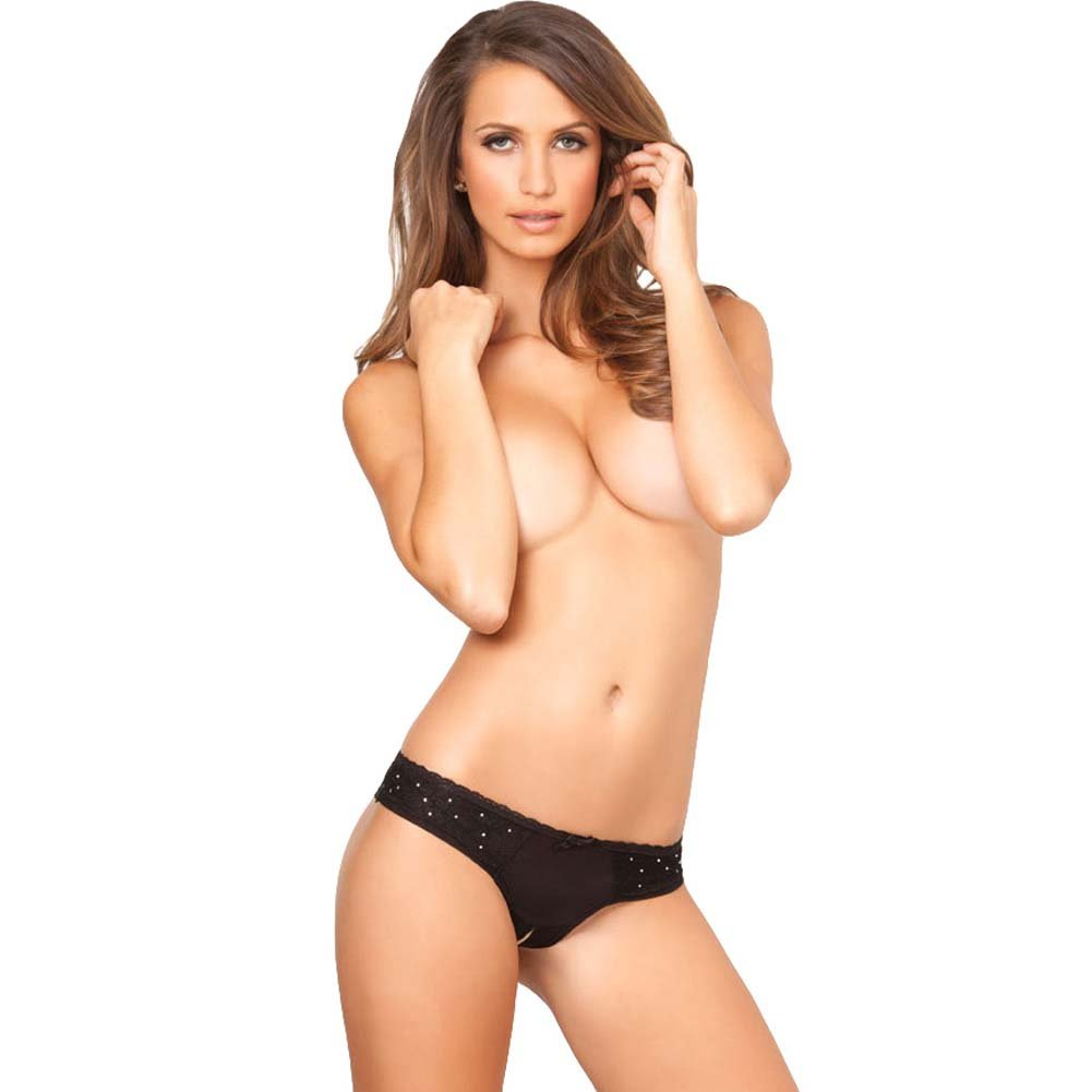 Rene Rofe Crotchless Diamond Lace Panty Small/Medium Black - View #3