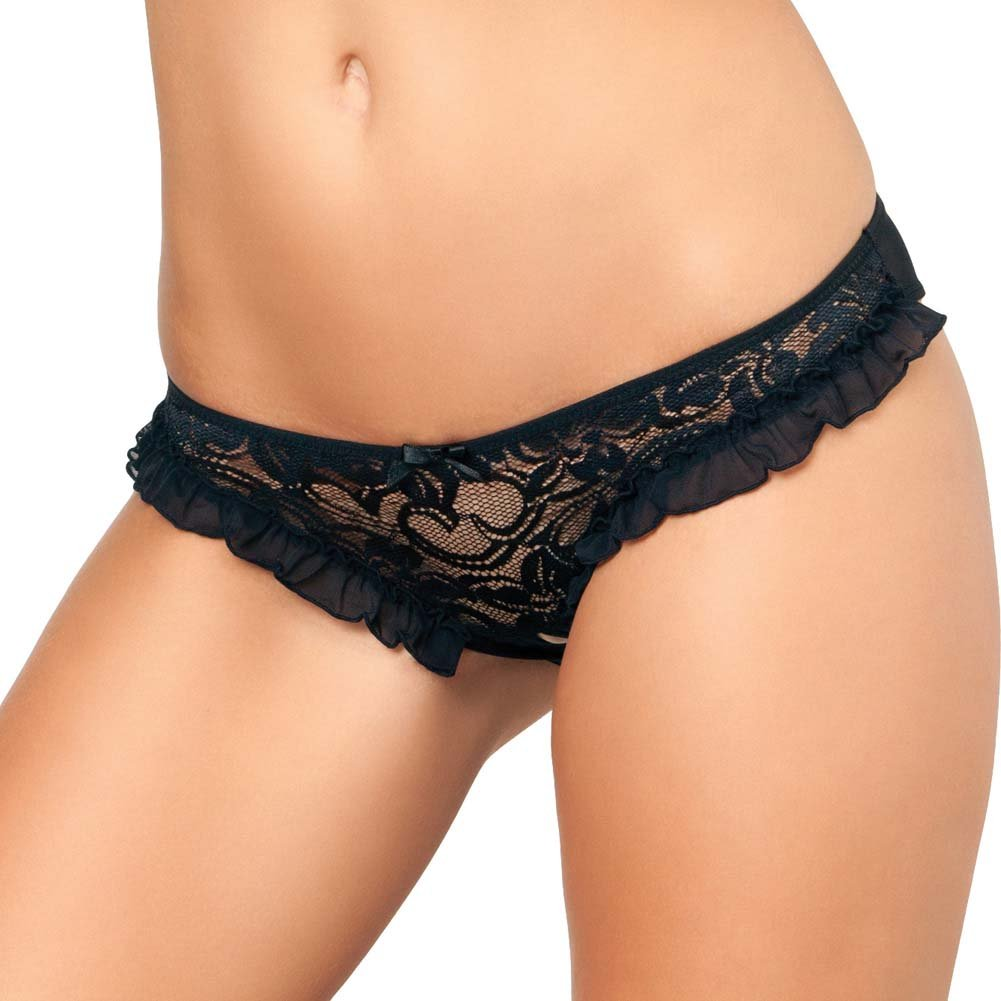 Rene Rofe Crotchless Floral Lace Ruffle Panty Small/Medium Black - View #1